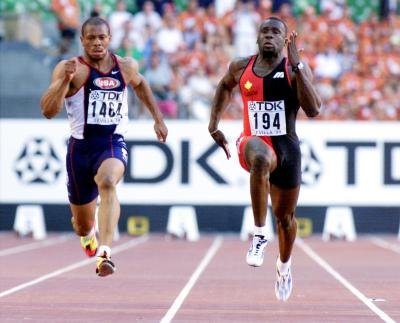 Canada 39 S Bruny Surin Runs During A Qualifying Heat For The Men 100m Event At 8th