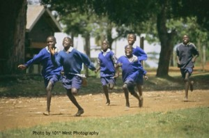 Kenyan children running